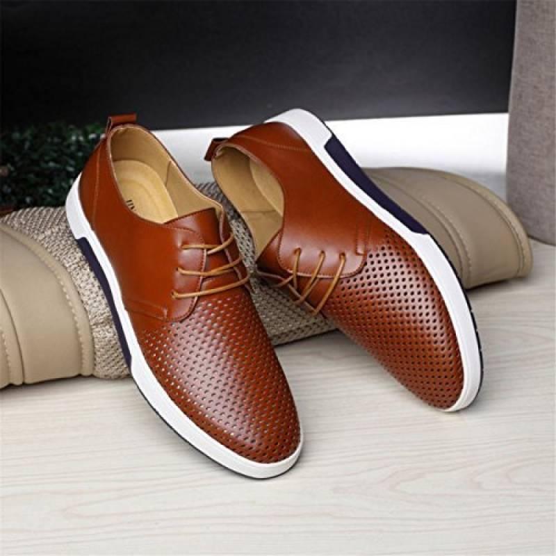 Chaussures Hommes Été Entreprises Style Hommes Le Cuir des Chaussures  Solides Et Loisirs Hollow de la marque HCFKJ cbf09d3426ed