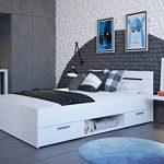 Demeyere Lit adulte Michigan 2 tiroirs/niche en panneaux de particules blanc perle 140x190 cm de la marque Demeyere image 4 produit