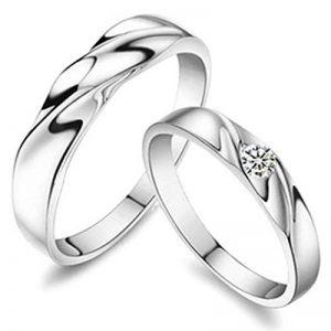 Gnzoe Bijoux, Mariage Anneaux Homme Femme Wave Silver Anneaux CZ 3mm/4mm, Silver de la marque Gnzoe image 0 produit