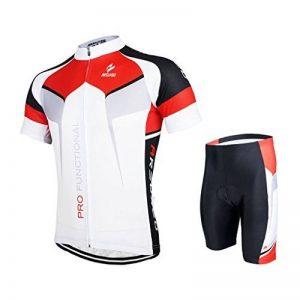 Gwell Ensemble Maillot de Cyclisme Set pour Homme Vêtements Vélo VTT VTC Manches Courtes + Short avec Coussin d'assise 3D de la marque GWEL image 0 produit