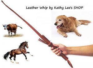 Mode Marron Cuir véritable Fouet tressé à la main Cravache 74Cm164g de la marque Kathy Lee image 0 produit