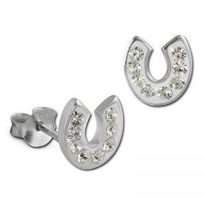 SilberDream scintillement bijoux - boucle d'oreilles fer à cheval blanc en argent 925 avec des tchèques cristaux Preciosa - GSO603W de la marque SilberDream image 0 produit