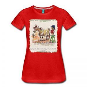 Spreadshirt Thelwell Cavalière A Mal Tondu Son Poney T-Shirt Femme de la marque Spreadshirt image 0 produit